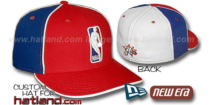 76ers 'LOGOMAN-2' Red-Royal-White Fitted Hat by New Era : pictured without stickers that these products are shipped with