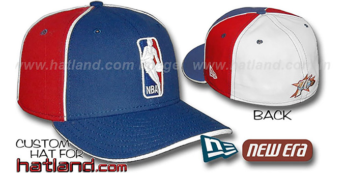 76ers 'LOGOMAN-2' Royal-Red-White Fitted Hat by New Era : pictured without stickers that these products are shipped with