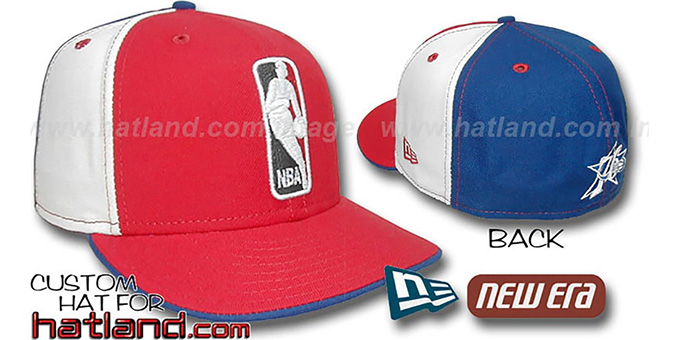 76ers 'LOGOMAN' Red-White-Royal Fitted Hat by New Era : pictured without stickers that these products are shipped with