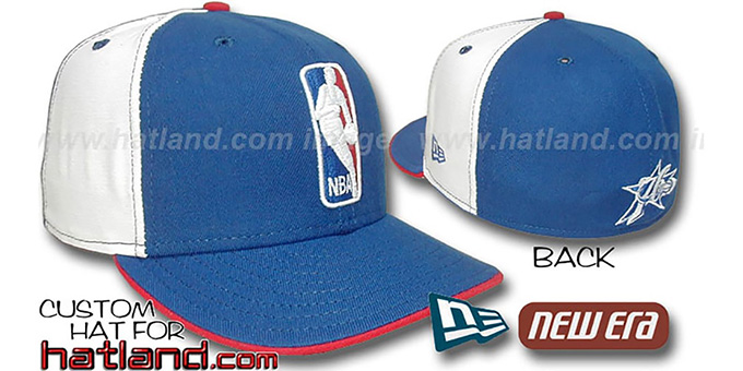76ers 'LOGOMAN' Royal-White Fitted Hat by New Era : pictured without stickers that these products are shipped with