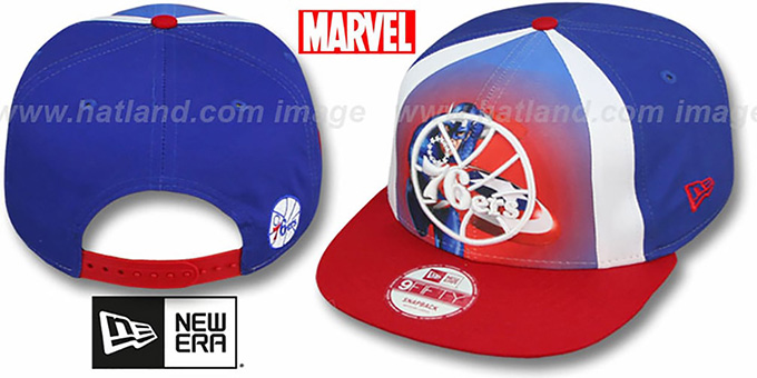 76ers 'MARVEL RETRO-SLICE SNAPBACK' Royal-Red Hat by New Era : pictured without stickers that these products are shipped with