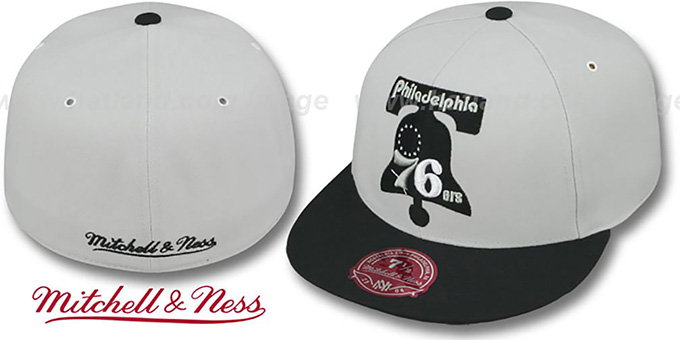 76ers 'MONOCHROME XL-LOGO' Grey-Black Fitted Hat by Mitchell & Ness : pictured without stickers that these products are shipped with