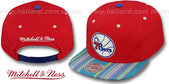 76ers 'NATIVE-STRIPE SNAPBACK' Red Hat by Mitchell & Ness : pictured without stickers that these products are shipped with