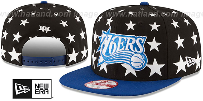 76ers 'NBA ALL-STARRY SNAPBACK' Hat by New Era : pictured without stickers that these products are shipped with