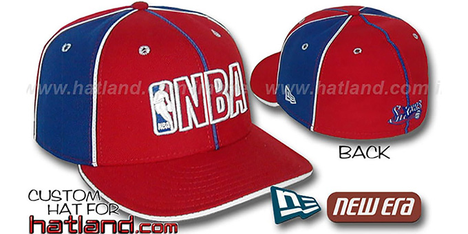 76ers NBA 'PINWHEEL-3' Red-Royal Fitted Hat by New Era : pictured without stickers that these products are shipped with