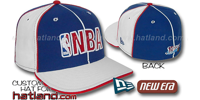 76ers NBA 'PINWHEEL-3' Royal-White Fitted Hat by New Era : pictured without stickers that these products are shipped with