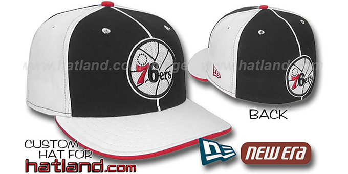 76ers 'OLD SCHOOL PINWHEEL-3' Black-White Fitted Hat : pictured without stickers that these products are shipped with