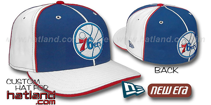 76ers 'OLD SCHOOL' PINWHEEL-3 Royal-White Fitted Hat : pictured without stickers that these products are shipped with