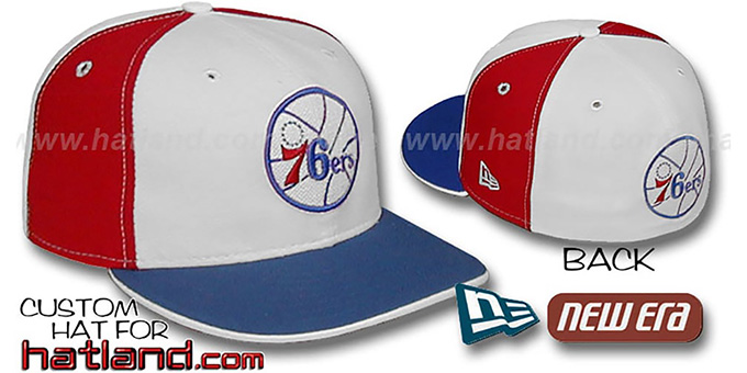 76ers OLD SCHOOL 'PINWHEEL' White-Red Fitted Hat by New Era : pictured without stickers that these products are shipped with