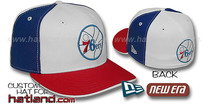76ers OLD SCHOOL 'PINWHEEL' White-Royal Fitted Hat by New Era : pictured without stickers that these products are shipped with
