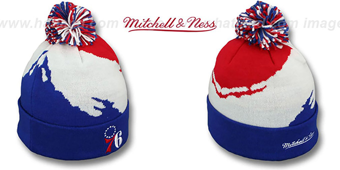 76ers 'PAINTBRUSH BEANIE' by Mitchell and Ness : pictured without stickers that these products are shipped with