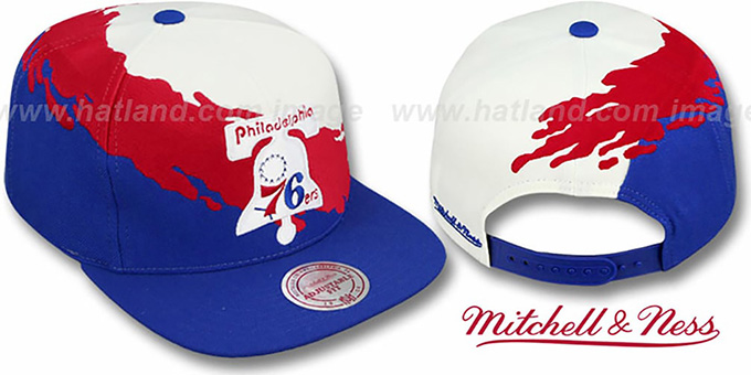 Philadelphia 76ers PAINTBRUSH SNAPBACK White-Red-Royal Hat by Mit aa1e3adb70cd