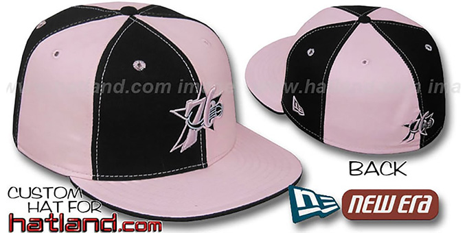 76ers 'PINWHEEL' Black-Pink Fitted Hat by New Era : pictured without stickers that these products are shipped with