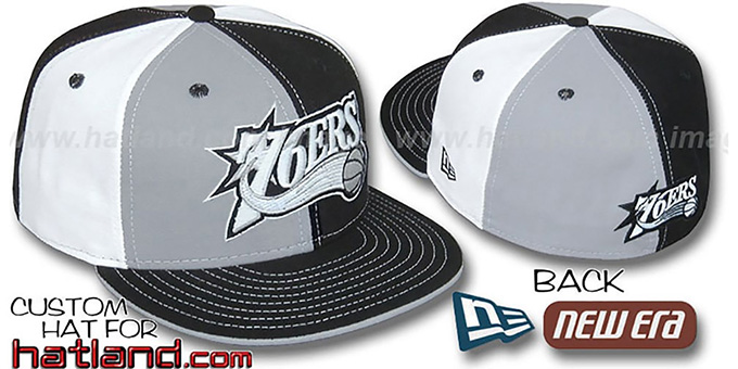76ers 'PINWHEEL' Grey-Black-White Fitted Hat by New Era : pictured without stickers that these products are shipped with