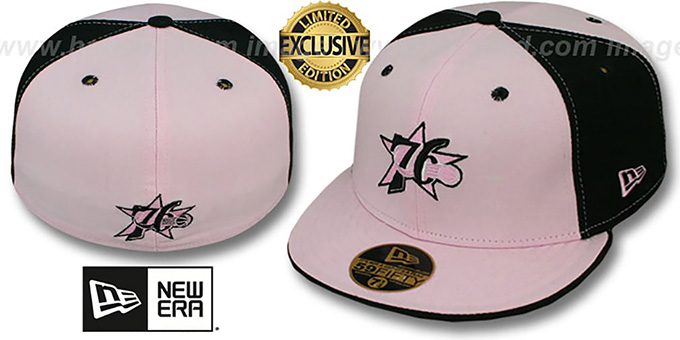 76ers 'PINWHEEL' Light Pink-Black Fitted Hat by New Era : pictured without stickers that these products are shipped with