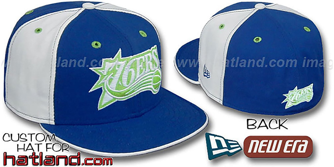 76ers 'PINWHEEL' Lime-Royal-White Fitted Hat by New Era : pictured without stickers that these products are shipped with