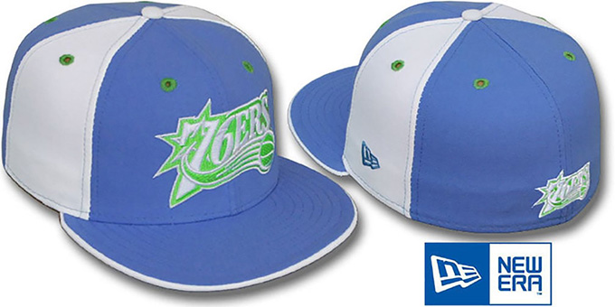 76ers 'PINWHEEL' Lime-Sky-White Fitted Hat by New Era : pictured without stickers that these products are shipped with