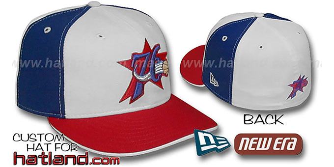 76ers 'PINWHEEL' White-Royal Fitted Hat by New Era : pictured without stickers that these products are shipped with