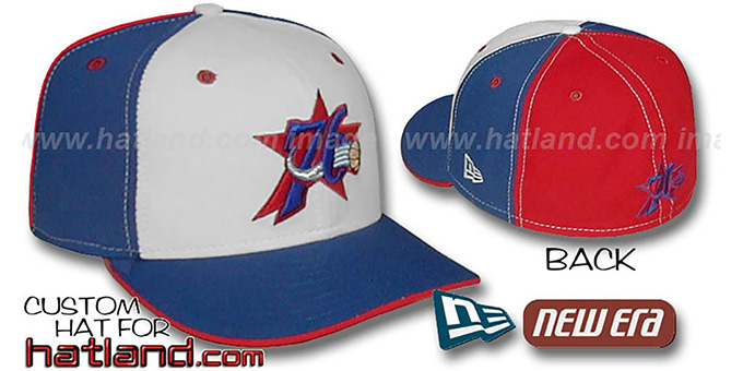 76ers 'PINWHEEL' White-Royal-Red Fitted Hat by New Era : pictured without stickers that these products are shipped with