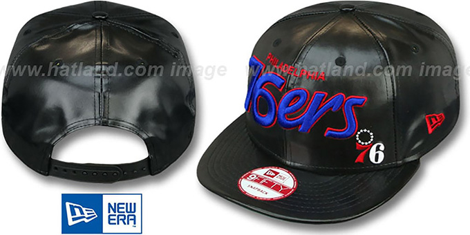 76ers 'REDUX SNAPBACK' Black Hat by New Era : pictured without stickers that these products are shipped with