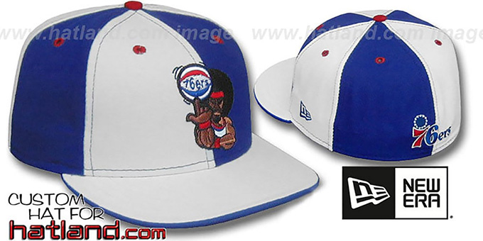 76ers 'RETRO MAN PINWHEEL' White-Royal Fitted Hat : pictured without stickers that these products are shipped with