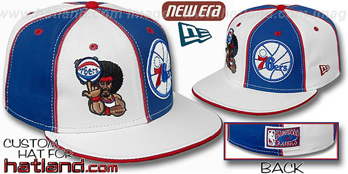 76ers 'RETROMAN DOUBLE WHAMMY' White-Royal Fitted Hat : pictured without stickers that these products are shipped with