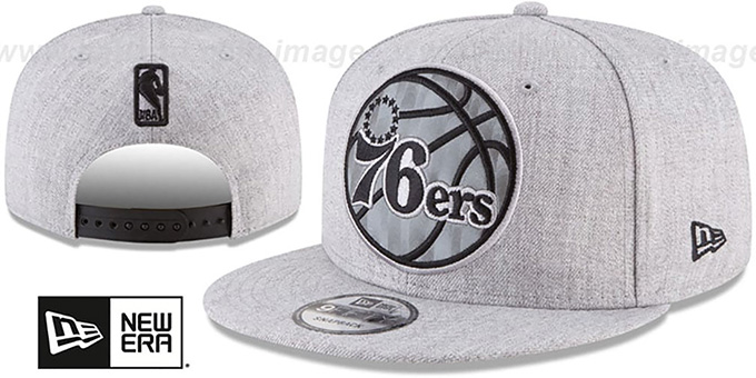 05e7704c41a 76ers  SILKED-XL SNAPBACK  Heather Light Grey Hat by New Era