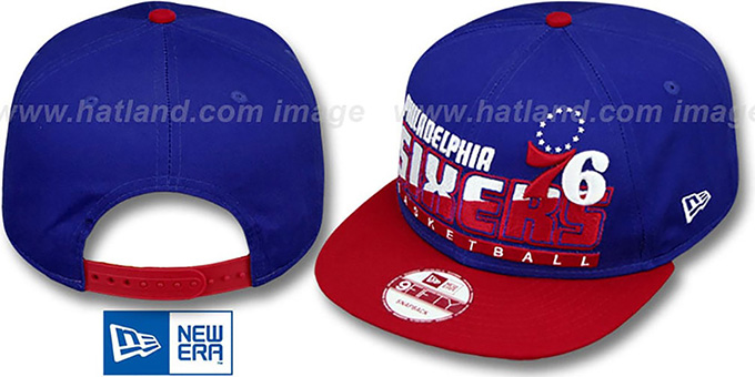 76ers 'SLICE-N-DICE SNAPBACK' Royal-Red Hat by New Era : pictured without stickers that these products are shipped with