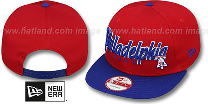 76ers 'SNAP-IT-BACK SNAPBACK' Red-Royal Hat by New Era : pictured without stickers that these products are shipped with