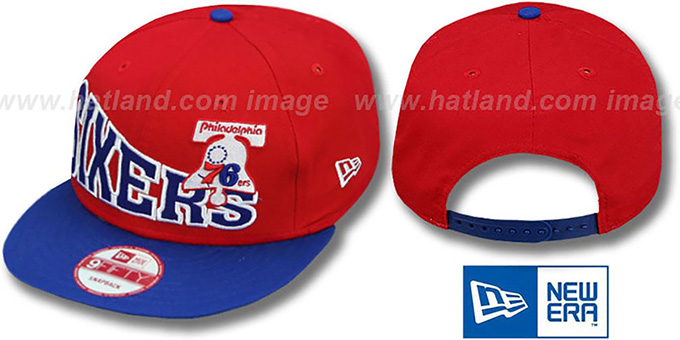 76ers 'STOKED SNAPBACK' Red-Royal Hat by New Era : pictured without stickers that these products are shipped with