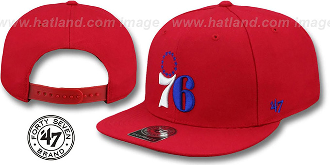 76ers 'SURE-SHOT SNAPBACK' Red Hat by Twins 47 Brand : pictured without stickers that these products are shipped with