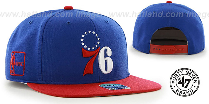 76ers 'SURE-SHOT SNAPBACK' Royal-Red Hat by Twins 47 Brand : pictured without stickers that these products are shipped with