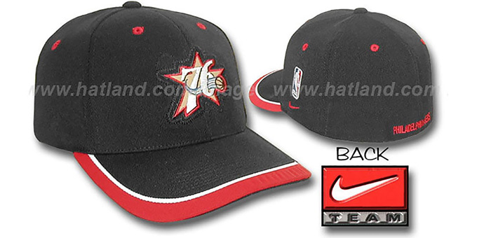 76ers 'SWINGMAN' Flex Hat by Nike - black : pictured without stickers that these products are shipped with