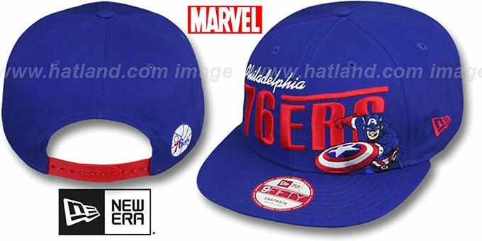 76ers 'TEAM-HERO SNAPBACK' Royal Hat by New Era : pictured without stickers that these products are shipped with