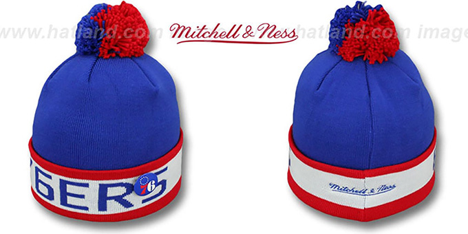 76ers 'THE-BUTTON' Knit Beanie Hat by Michell & Ness : pictured without stickers that these products are shipped with
