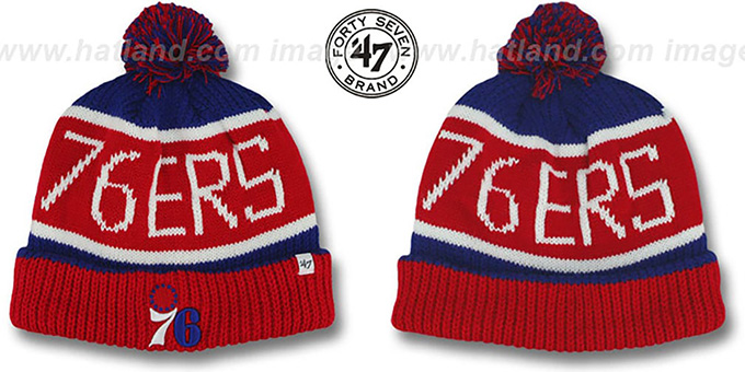 76ers 'THE-CALGARY' Red-Royal Knit Beanie Hat by Twins 47 Brand : pictured without stickers that these products are shipped with
