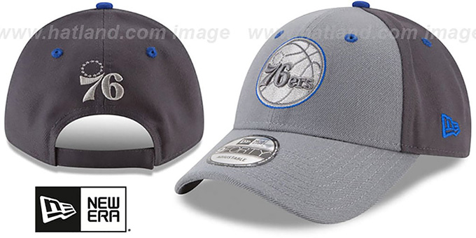 76ers 'THE-LEAGUE GREY-POP STRAPBACK' Hat by New Era : pictured without stickers that these products are shipped with