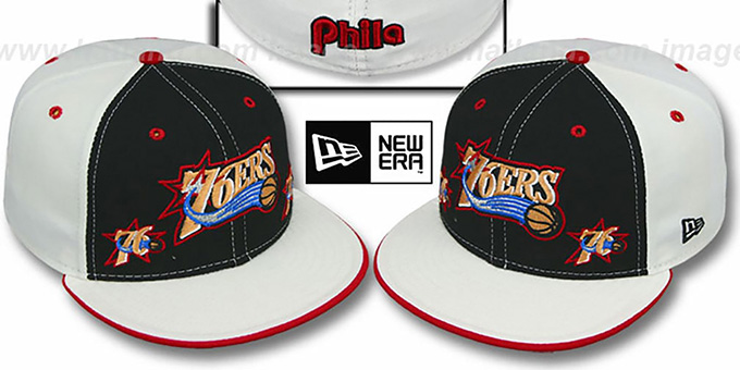 76ers 'TRIPLE THREAT' Black-White Fitted Hat by New Era : pictured without stickers that these products are shipped with