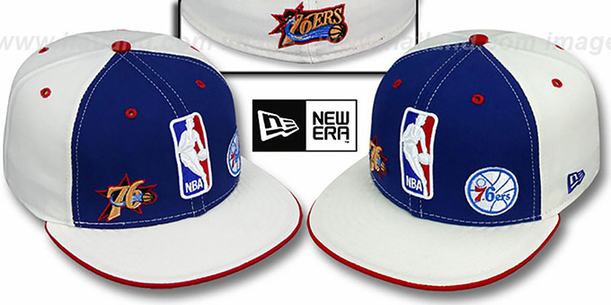 76ers 'TRIPLE THREAT' Royal-White Fitted Hat by New Era : pictured without stickers that these products are shipped with