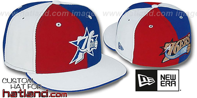76ers TWO BIG 'PINWHEEL' Red-Royal-White Fitted Hat : pictured without stickers that these products are shipped with