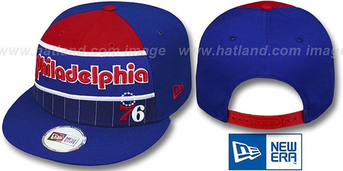 76ers 'WARM-UP SNAPBACK' Royal-Red Hat by New Era : pictured without stickers that these products are shipped with