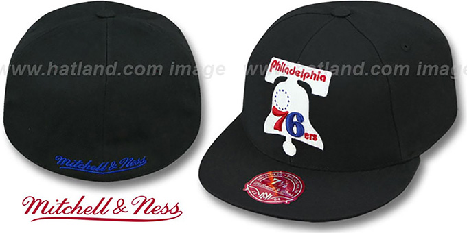 76ers 'XL-LOGO BASIC' Black Fitted Hat by Mitchell & Ness : pictured without stickers that these products are shipped with