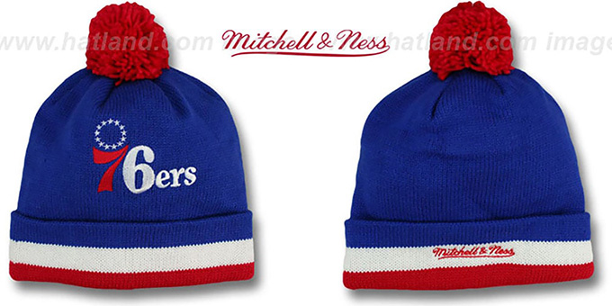 76ers 'XL-LOGO BEANIE' Royal by Mitchell and Ness