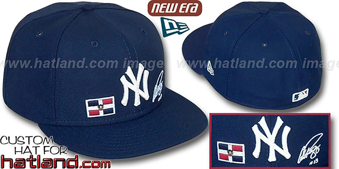 A-Rod 'TRIPLE THREAT' Navy Fitted Hat by New Era : pictured without stickers that these products are shipped with