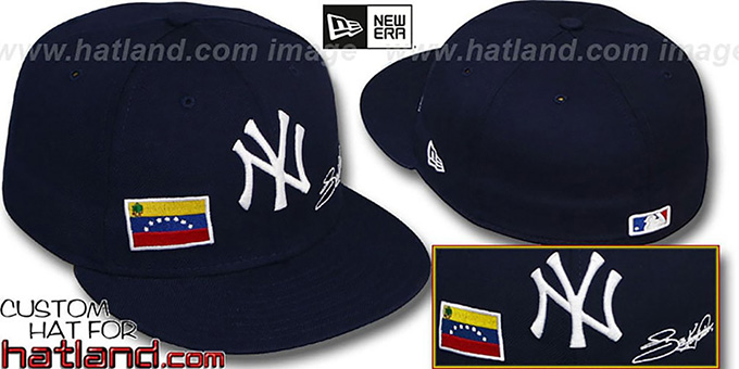 Abreu 'TRIPLE THREAT' Navy Fitted Hat by New Era : pictured without stickers that these products are shipped with