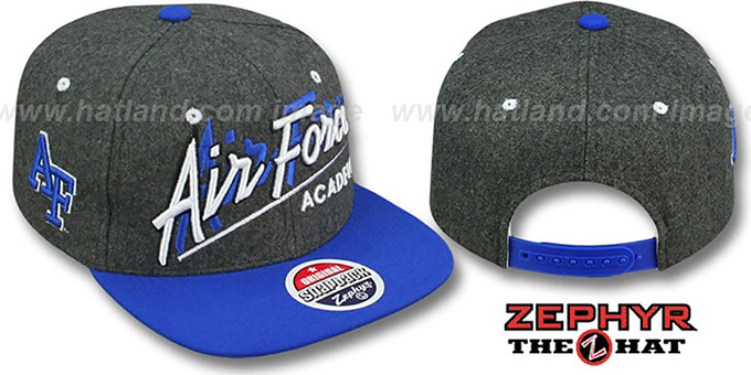 Air Force 'BACKDROP SNAPBACK' Grey-Royal Hat by Zephyr : pictured without stickers that these products are shipped with