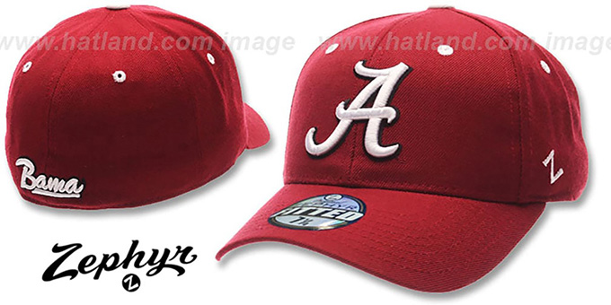 Alabama 'DH' Fitted Hat by ZEPHYR - burgundy : pictured without stickers that these products are shipped with