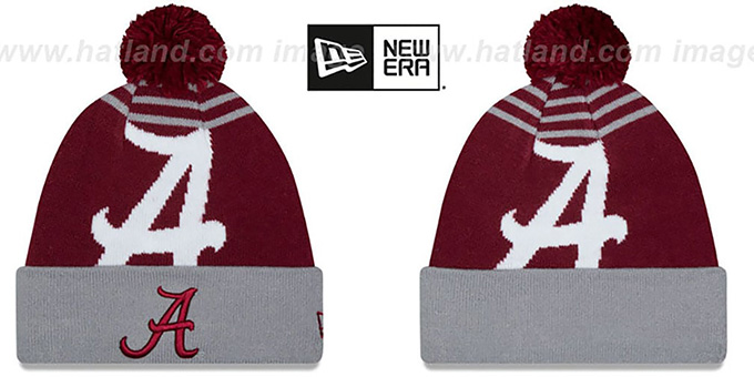Alabama 'LOGO WHIZ' Burgundy-Grey Knit Beanie Hat by New Era : pictured without stickers that these products are shipped with