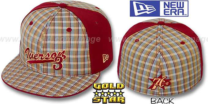 Allen Iverson 'SUPA STAR PLAID' Fitted Hat by New Era : pictured without stickers that these products are shipped with