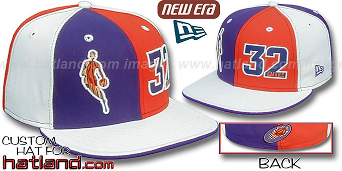 Amare 'INSIDER DOUBLE WHAMMY' Purple-Orange-White Fitted Hat : pictured without stickers that these products are shipped with